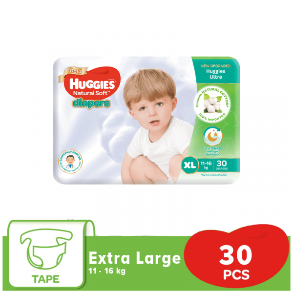 Huggies Ultra Natural Soft Diapers XL (11-16 Kg) 30pcs (Singapore) Smartmom Bangladesh