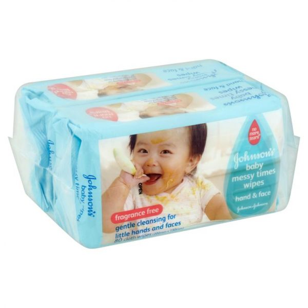 Johnson's Baby Messy Times Wipes Hand & Face (Fragnance Free) 80pcs (Taiwan) Smartmom Bangladesh