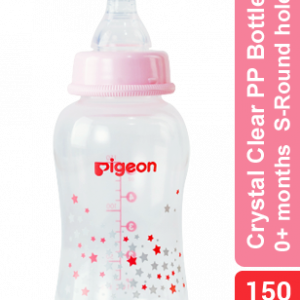 Pigeon Flexible Peristaltic Nipple Clear Pp Bottle, Pink Star 150ml Smartmom Bangladesh