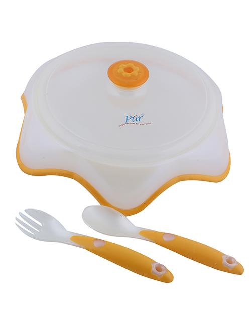 Pur Plate With Fork & Spoon (Two Color) Smartmom Bangladesh