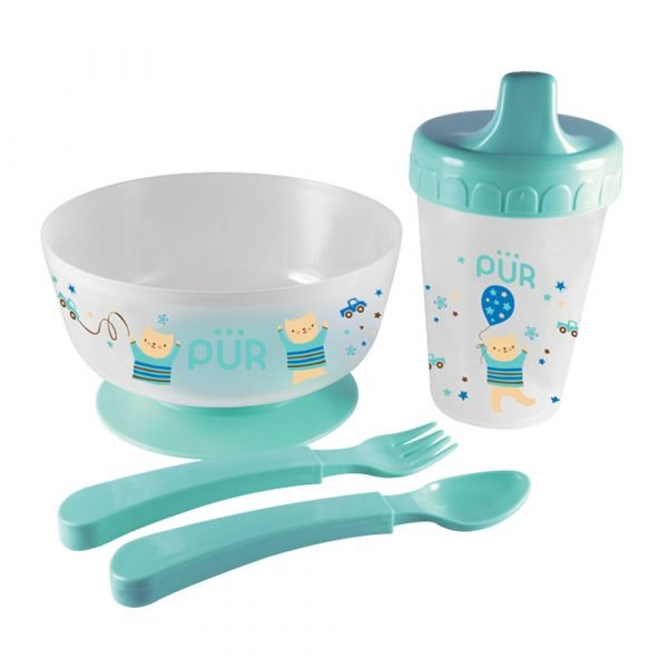 Pur Weaning Set (Drinking Cup + Non Spill Bowl + Spoon + Fork ) Smartmom Bangladesh