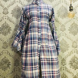 Kurti Long Shirt Light Navy blue Check Smartmom Bangladesh