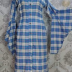 Kurti Long Shirt Medium Blue Check Smartmom Bangladesh