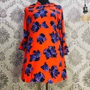 Georgette Tops Orange and Purple Mixed Floral Smartmom Bangladesh