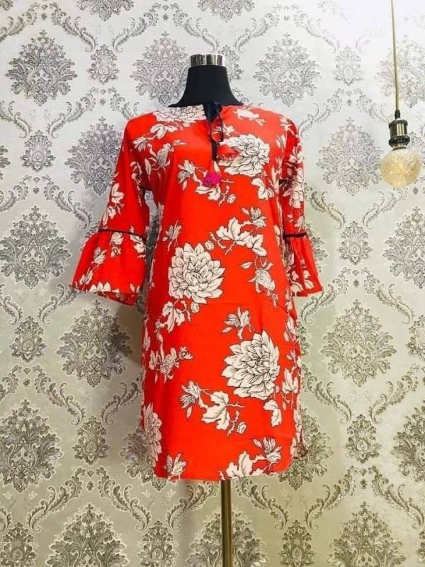 Georgette Tops Orange and Cream Floral Smartmom Bangladesh