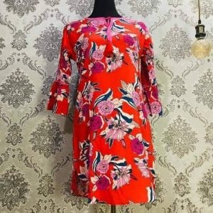 Georgette Tops Orange and Pink mixed floral Smartmom Bangladesh