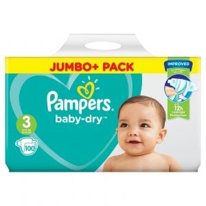 Pampers Baby Dry Diapers Jumbo Plus Pack Size 3 (6-10 Kg) 100pcs (UK) Smartmom Bangladesh