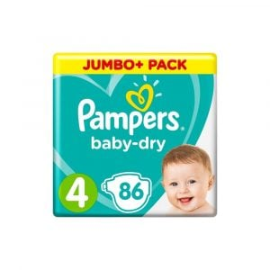 Pampers Baby Dry Diapers Jumbo Plus Pack Size 4 (9-14 Kg) 86pcs (UK) Smartmom Bangladesh