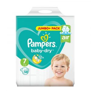Pampers Baby Dry Diapers Jumbo Plus Pack Size 7 (15+Kg) 58pcs (UK) Smartmom Bangladesh