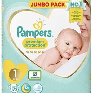Pampers Newborn Baby Diaper Nappy Premium Protection Jumbo Pack Size 1 (2-5 Kg) 72pcs (UK) Smartmom Bangladesh