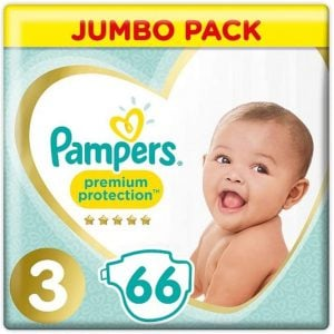 Pampers Premium Protection Baby Diapers Jumbo Pack Size 3 (6-10 Kg) 66pcs (UK) Smartmom Bangladesh