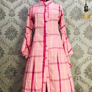 Kurti Long Shirt Pink Check Smartmom Bangladesh