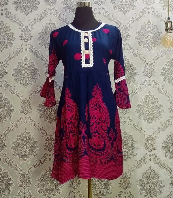 Floral Lace Tops Navy blue & Pink flowers Smartmom Bangladesh