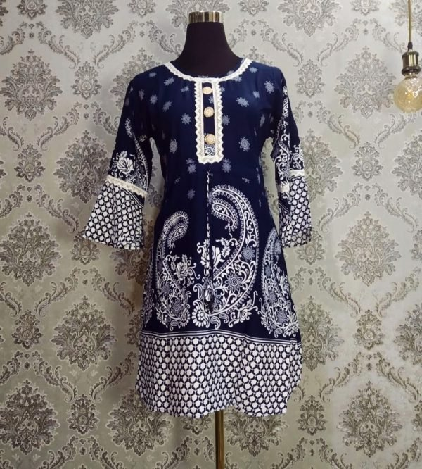 Floral Lace Tops Navy Blue & white Flowers Smartmom Bangladesh