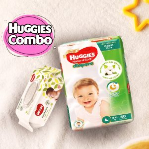 Huggies Ultra Natural Soft Diapers L (8-13 Kg) 50pcs With Wipe Combo Smartmom Bangladesh