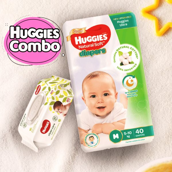 Huggies Ultra Natural Soft Diapers M (5-10 Kg) 40pcs With Wipe Combo Smartmom Bangladesh