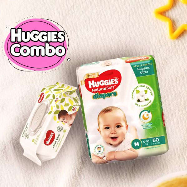 Huggies Ultra Natural Soft Diapers M (5-10 Kg) 60pcs With Wipe Combo Smartmom Bangladesh