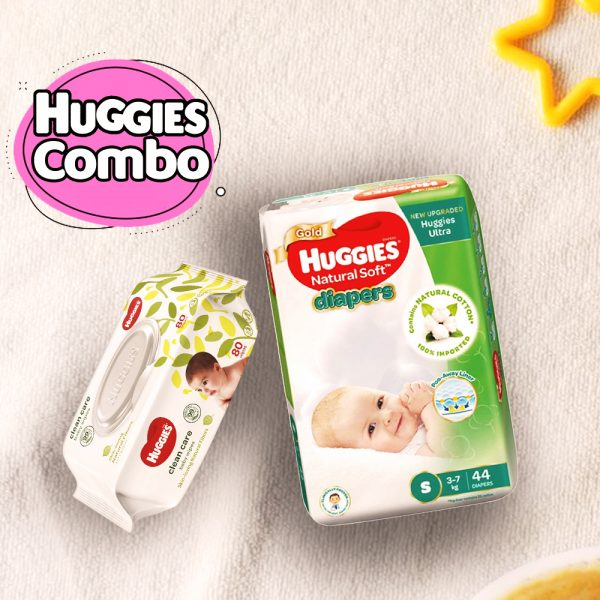 Huggies Ultra Natural Soft Diapers Small (3-7Kg) 44pcs With Wipe Combo Smartmom Bangladesh