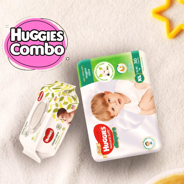 Huggies Ultra Natural Soft Diapers XL (11-16 Kg) 30pcs With Wipe Combo Smartmom Bangladesh