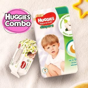 Huggies Ultra Natural Soft Diapers XL (11-16 Kg) 44pcs With Wipe Combo Smartmom Bangladesh