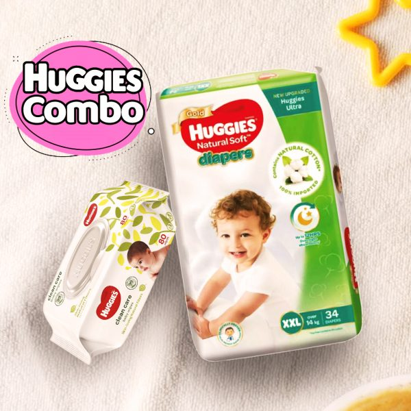 Huggies Ultra Natural Soft Diapers XXL (Over 14 Kg) 34pcs With Wipe Combo Smartmom Bangladesh