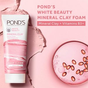 Pond's White Beauty Mineral Clay Instant Brightness Face Wash Foam 90g Smartmom Bangladesh