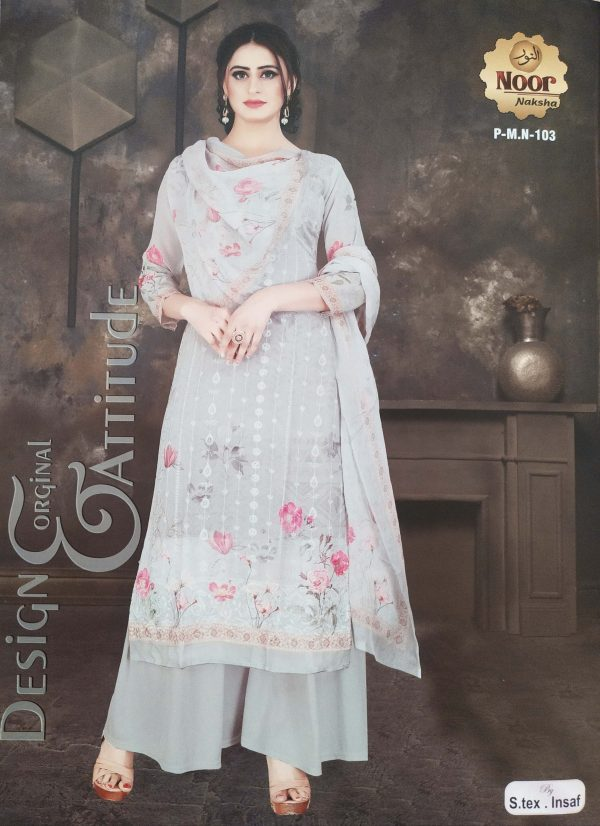 Noor Naksha Soft Pure Georgette Three Piece (P-M.N- 103) Smartmom Bangladesh